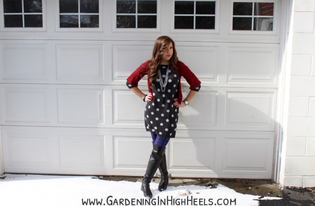 Polka dot sweater dress for winter