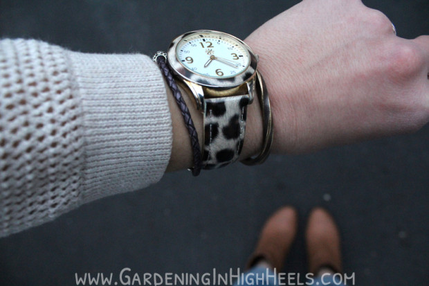 Isaac Mizrahi Live watch, Studebaker Metals brass cuff, and Pandora #armparty
