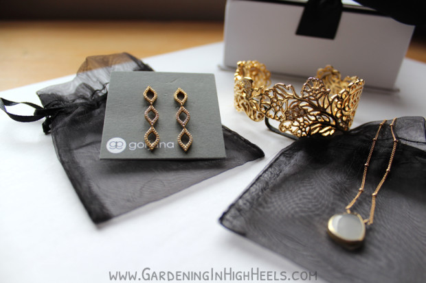 Gorjana earrings, Margaret Elizabeth Necklace, and Matterial Fix cuff bracelet from Rocksbox.