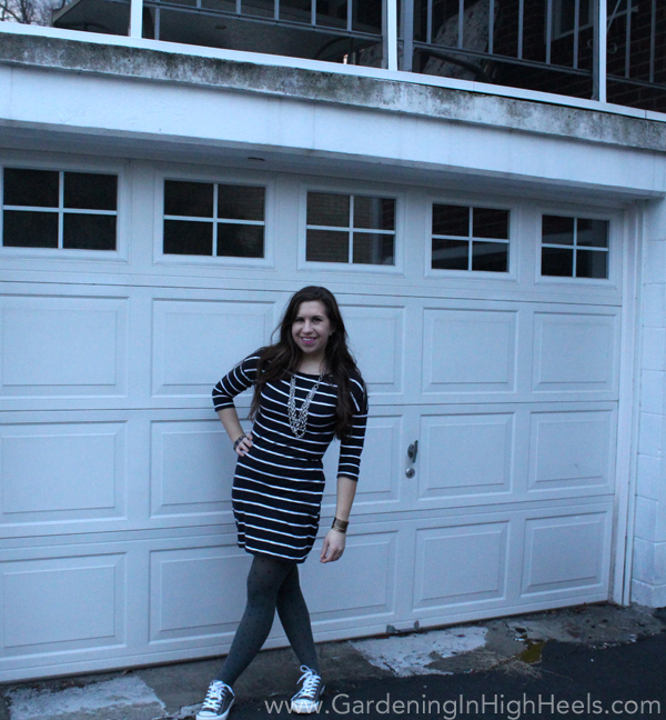 The Creative Closet: Stripes are where it's at! I love this dress from Express layered with tights and sneakers for a casual look.