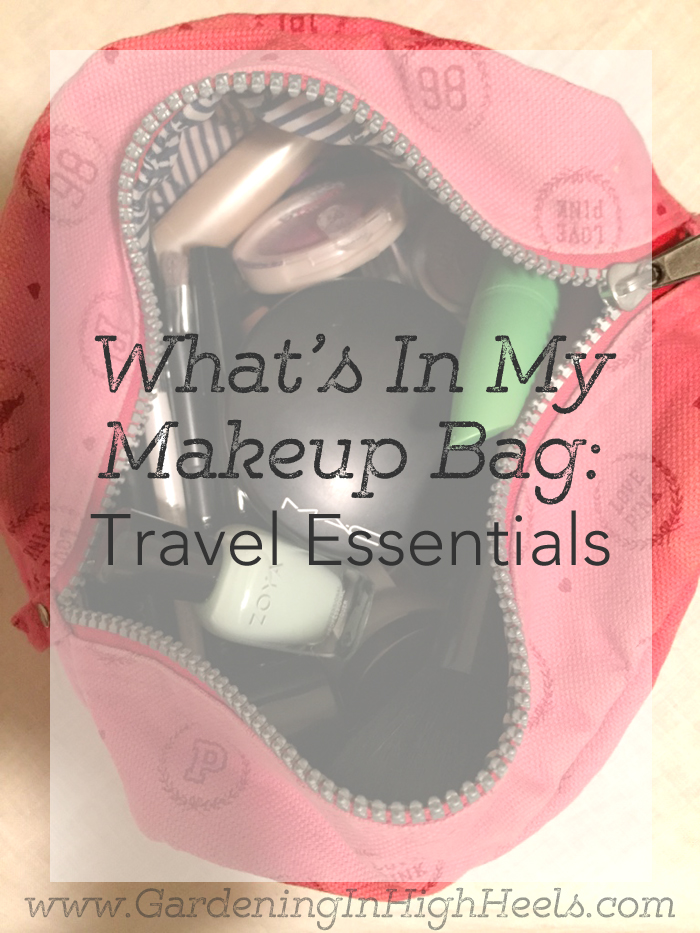 My makeup bag is scaled down right now (from my massive organization undertaking to just one small bag) for vacation.  For Blogger, May I, I'm sharing my makeup essentials that are so necessary, they come on vacation with me.