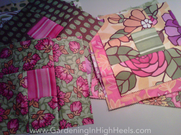 Quilt squares made with Moda Fabrics jellyrolls