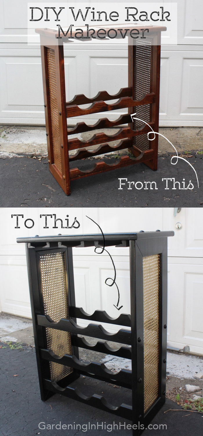 80s wine rack makeover with spray paint. Love how this turned out! | Gardening In High Heels