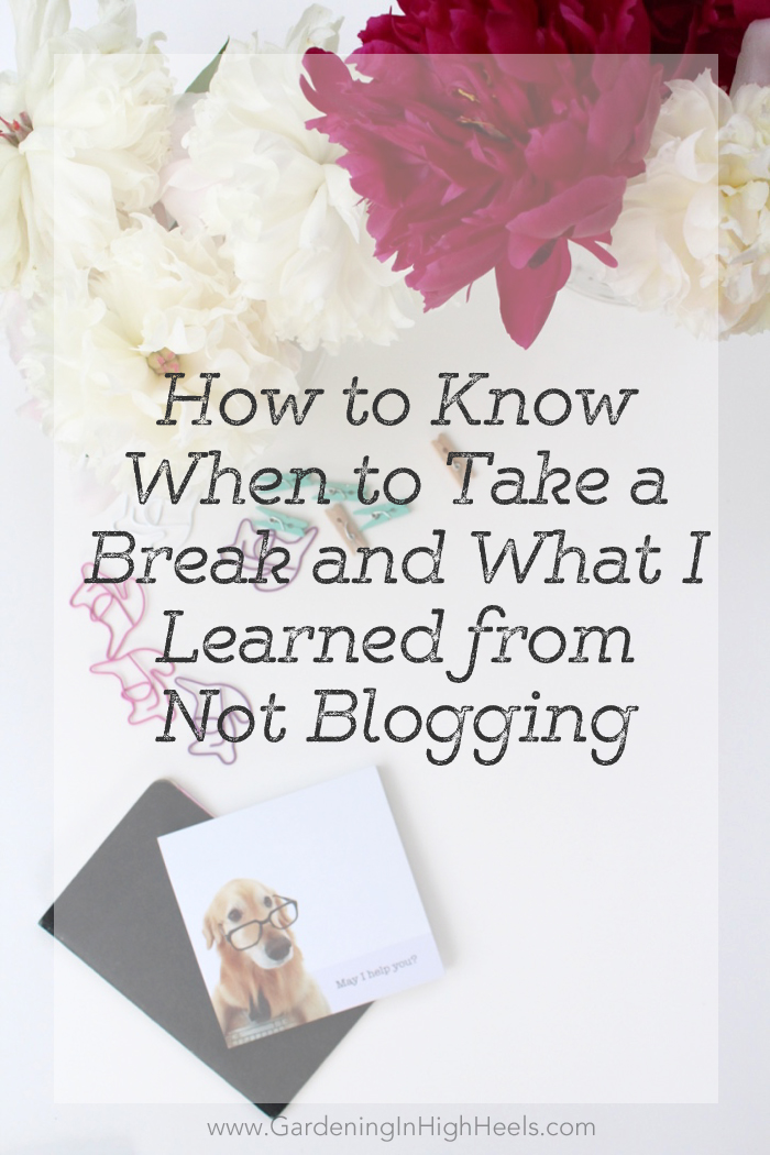 How to know when you need to take a blog break (and a giveaway from Gardening In High Heels)