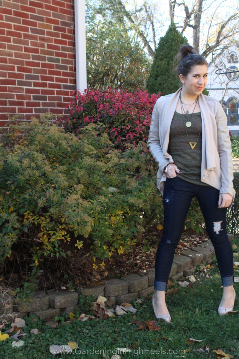 Fall/winter date night look - dark denim, heels, leather always works! | Gardening In High Heels