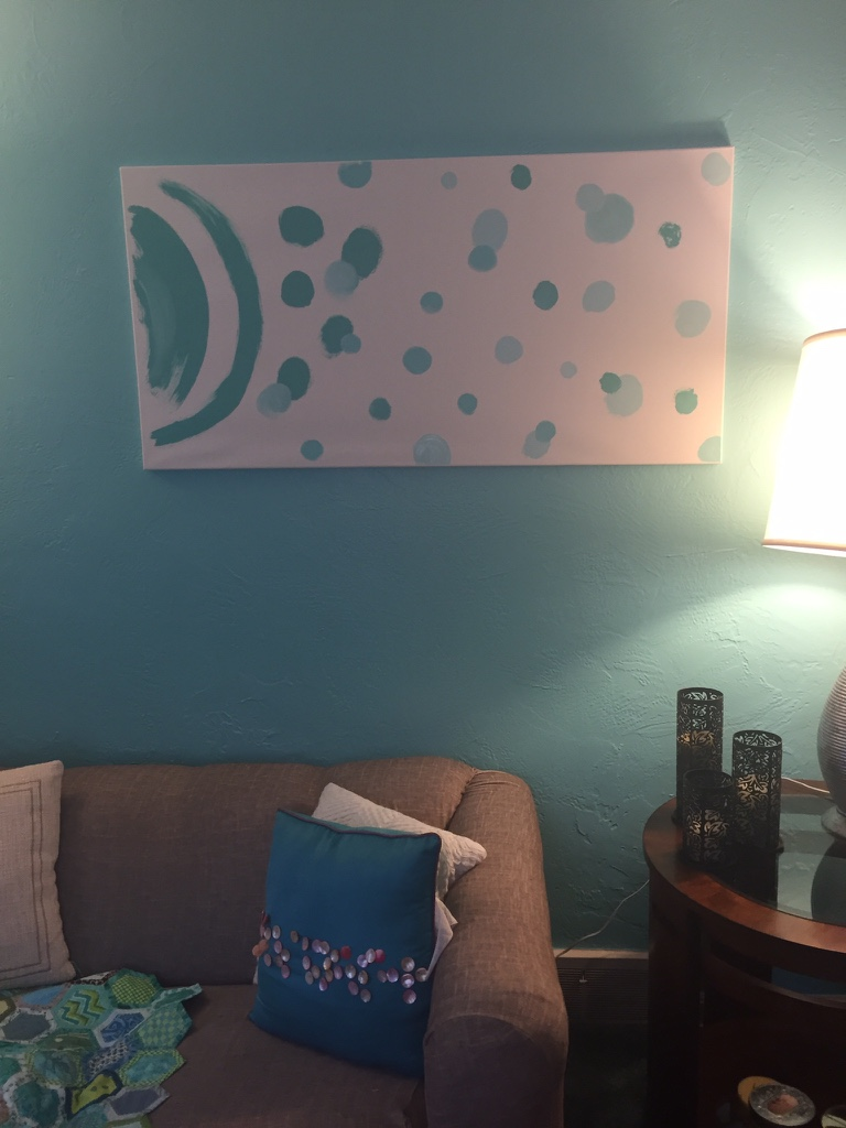 Custom art made from leftover paint samples for the room. Perfectly coordinates!