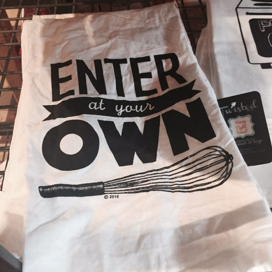 Enter at your own whisk punny tea towel. So cute!