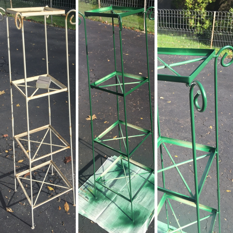 Plant stand makeover in progress. Spray paint is a miracle worker!